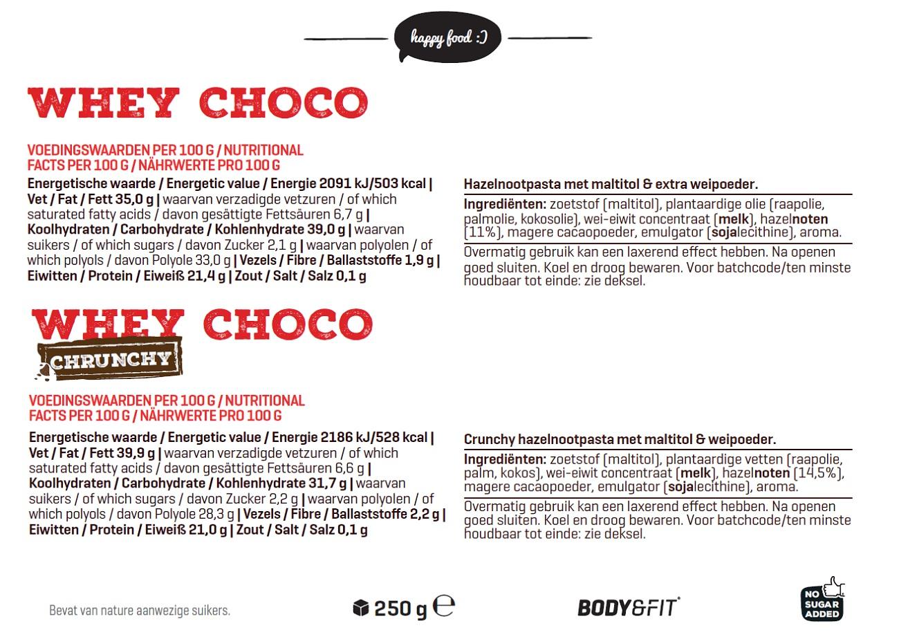 Body & Fit Smart WheyChoco | Čokoládový krém sproteinem abez cukru | Happy Food | kupuj naFitnessMuscle.eu
